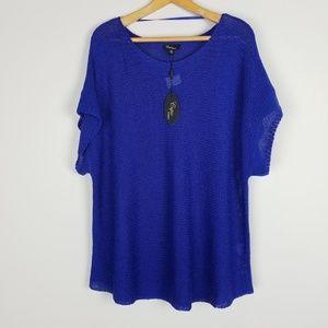 Cupio 2x Crochet Knit Sheer Royal Blue Top A0516